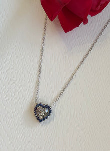 14K White Gold Sapphire and Diamond Heart .15 CT Diamond .28 CTW Sapphire Necklace