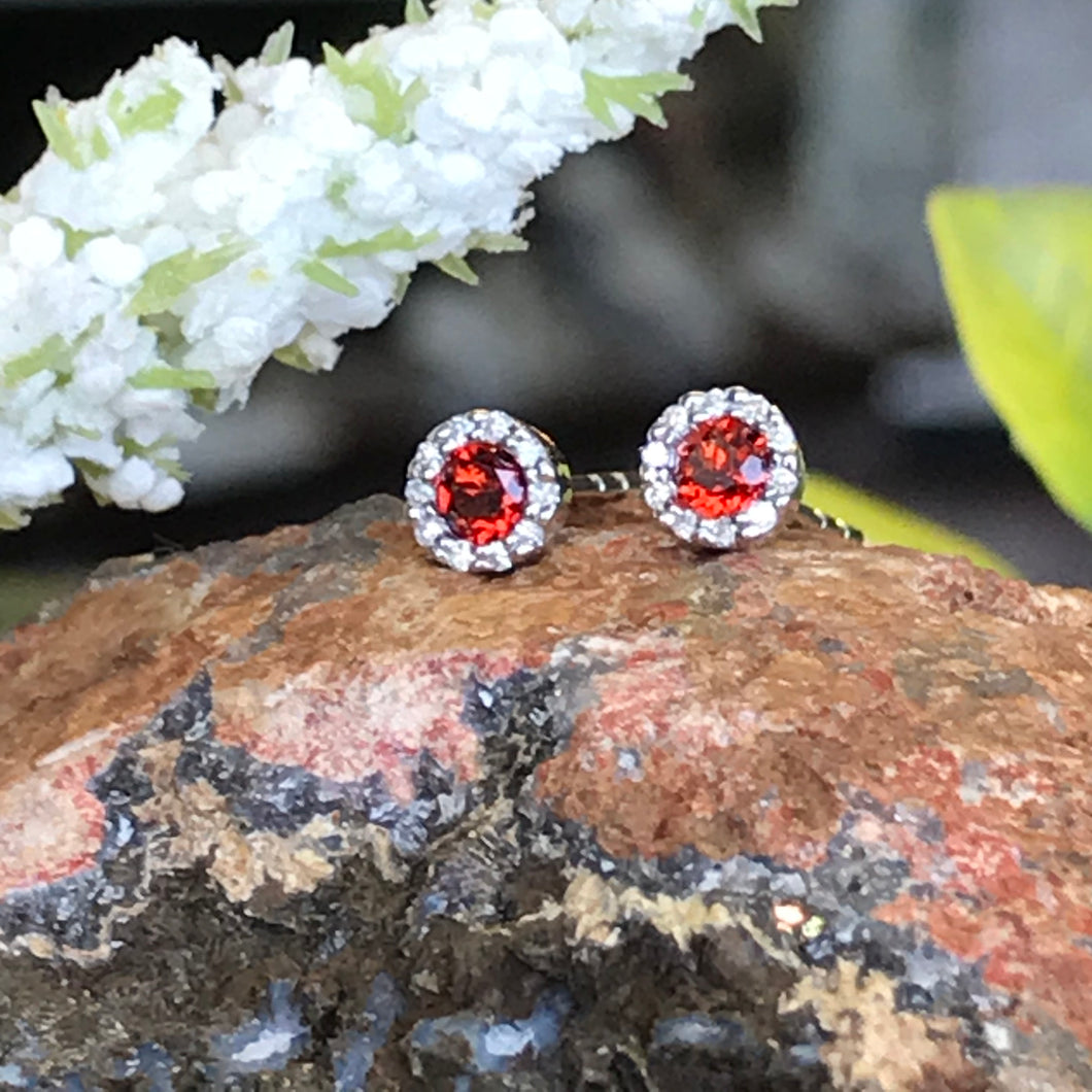 14K White Gold .26 Carat Garnet and Diamond Earrings