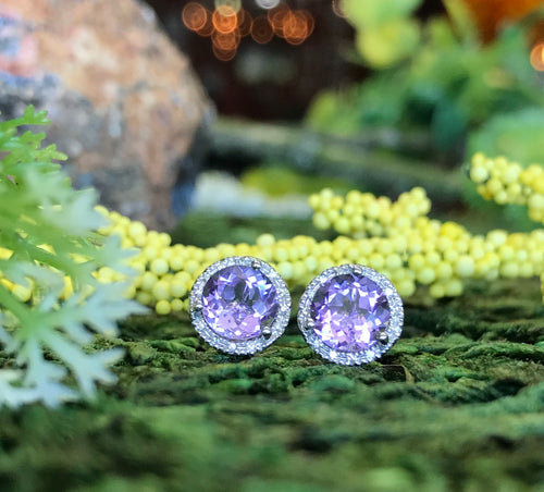 14K White Gold 1.60 Carat Amethyst & .07 CTW Diamond Earrings