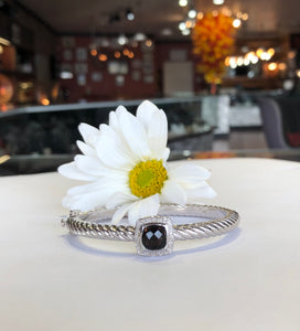 Stainless Steel Bracelet With Cushion Cut Smokey Quartz  Diamond Halo Bangle Bracelet - The Jewelers Lebanon