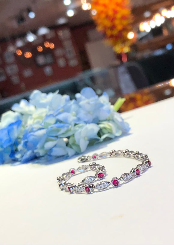 14K White Gold 1.20 Carat Ruby & .60 CTW Diamond Bracelet