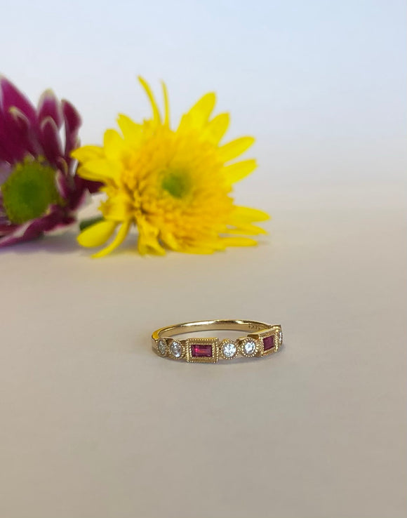 14K Yellow Gold .24 Carat Ruby & .32 CTW Diamond Band