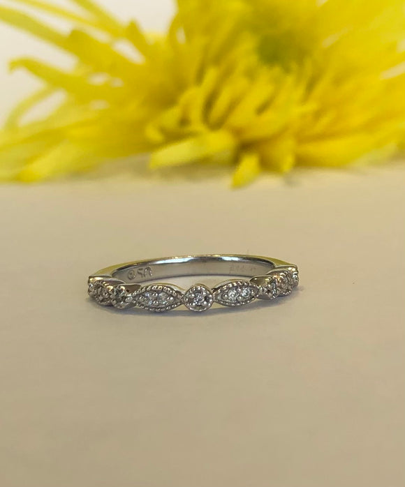 14K White Gold .12 CTW Stackable Diamond Band - The Jewelers Lebanon