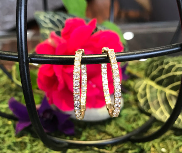14K Yellow Gold 2.0 CTW Diamond Hoop Earrings