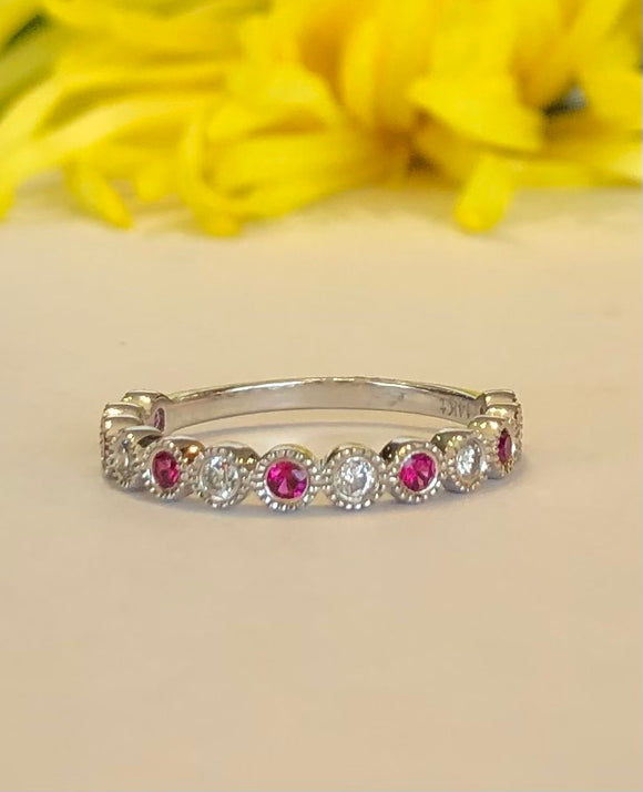 14K White Gold .25 Carat Ruby & .25 CTW Diamond Band - The Jewelers Lebanon