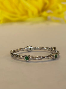 14K White Gold .20 Carat Emerald Stackable Band