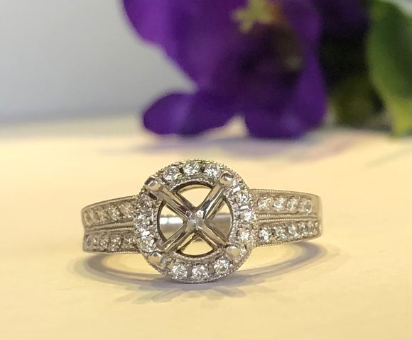 14K White Gold .51 CTW Diamond Double Row Halo Semi-Mounting - The Jewelers Lebanon