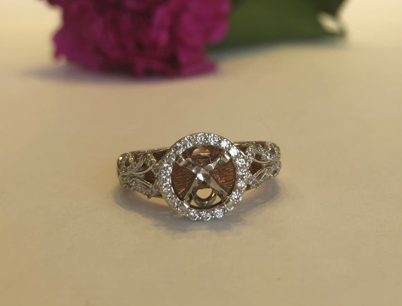 14K Rose Gold & White Gold .50 CTW Semi- Mounting