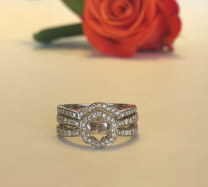 14K White Gold .46 CTW Diamond Semi-Mounting With Band - The Jewelers Lebanon