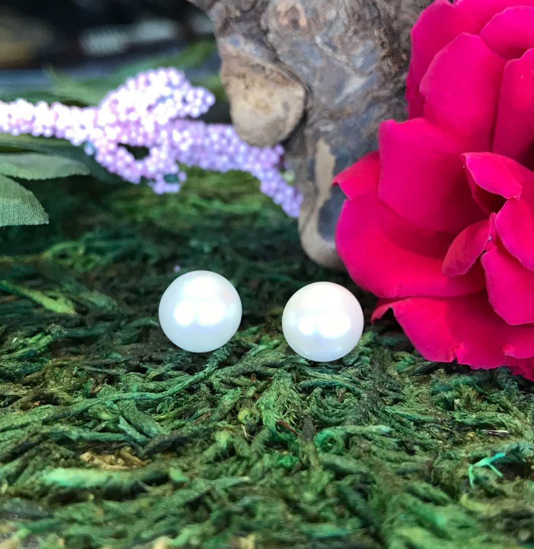 14K White Gold 7-8 MM White Round Freshwater Cultured Pearl Earrings