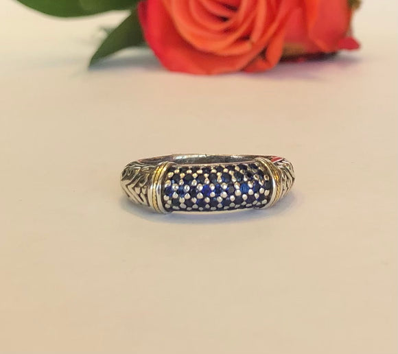 Sterling Silver & 18K .80 CTW Sapphire Ring - The Jewelers Lebanon