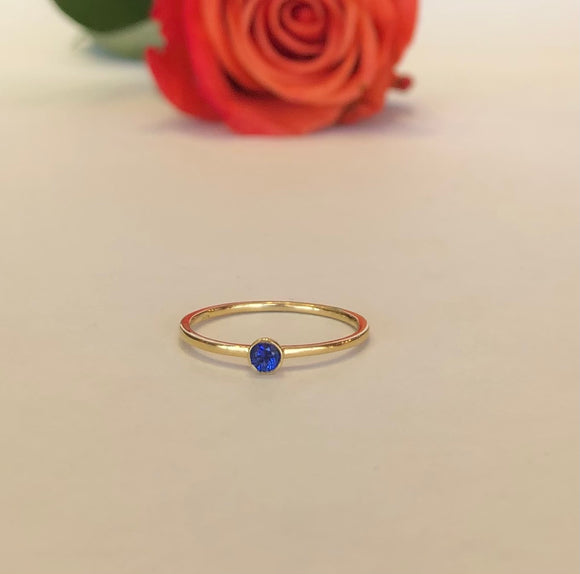 14K Yellow Gold Blue Sapphire Bezel Set Ring