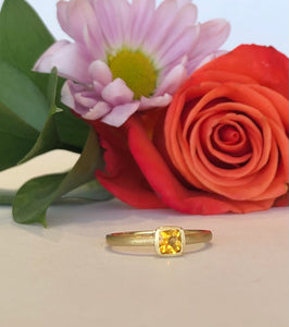 14K Yellow Gold Square Citrine Ring - The Jewelers Lebanon