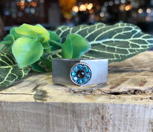 Sterling Silver Blue Diamond Gents Ring