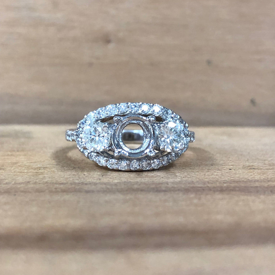 14K White Gold Halo Semi-Mounting - The Jewelers Lebanon
