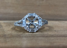 14K White Gold .26 CTW Diamond Octagon Semi-Mounting - The Jewelers Lebanon