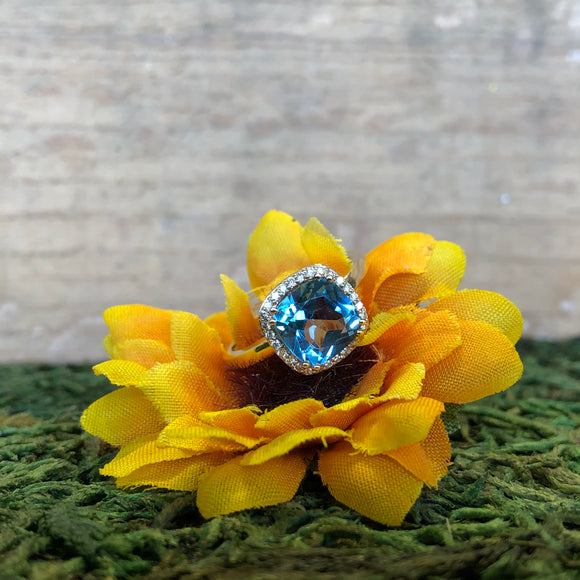 14K Yellow Gold 1.80 Carat Blue Topaz & .15 CTW Diamond Halo Ring