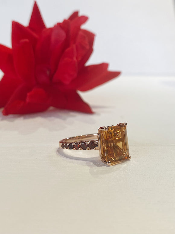 14K Rose Gold Citrine Ring With Garnet Accents On The Band