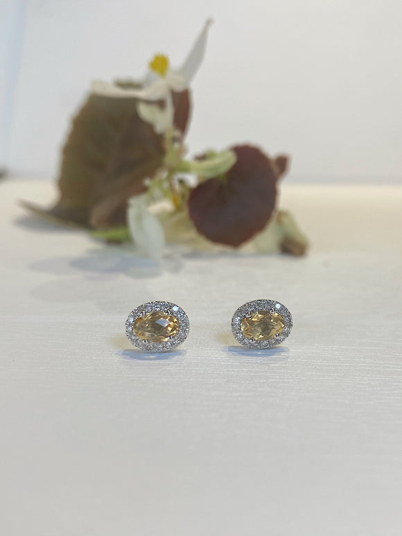14K White Gold 4.25 CTW Citrine & Diamond Halo Stud Earrings