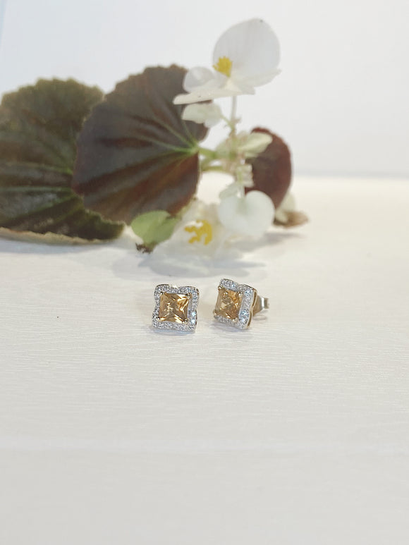 14K Yellow Gold Princess Cut Citrine & Diamond Halo Stud Earrings