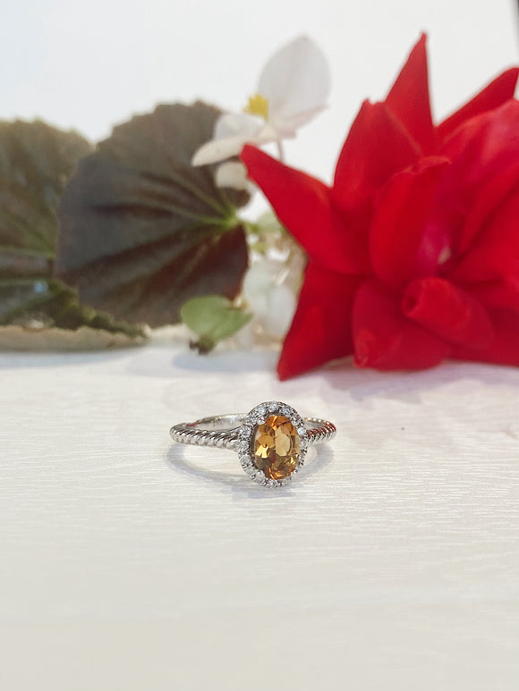 14K White Gold Citrine  .15 CTW  Diamond Halo Ring - The Jewelers Lebanon