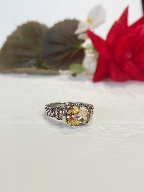Sterling Silver & 14K Citrine Ring