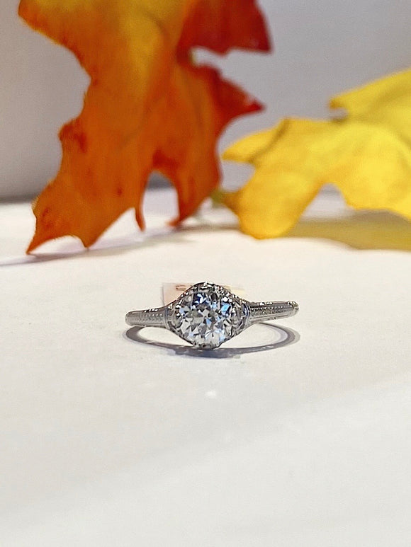 14K White Gold Filagree .85 CTW Old European Cut K-l SI1 Engagement Ring