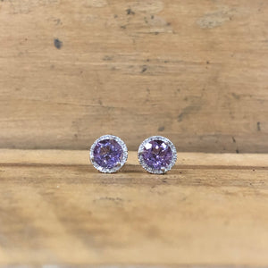 14K White Gold Amethyst and Diamond Earrings - The Jewelers Lebanon
