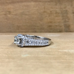 14K White Gold .79CT Cushion Halo Mounting w/.47CT Round Brilliant Center Diamond Engagement Ring
