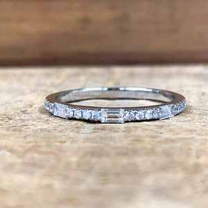 14K White Gold .25 Carat Baguette/Round Diamond Band - The Jewelers Lebanon