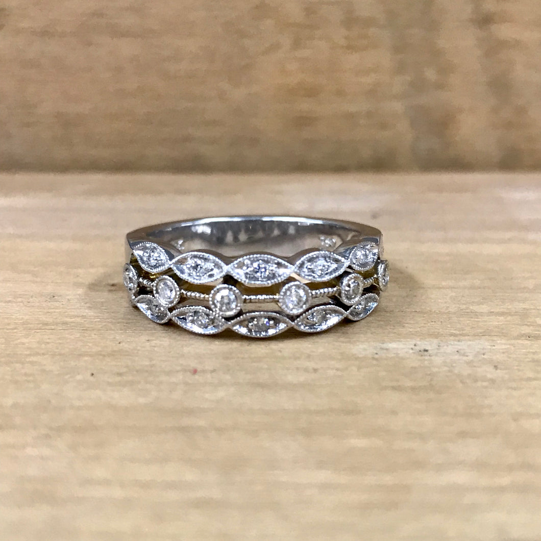 18K White Gold 3 Row .26 Carat Filigree Diamond Band - The Jewelers Lebanon
