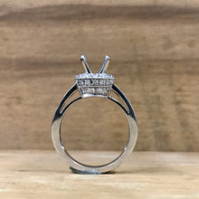 14K White Gold & Diamond Double Row Halo Semi-Mount Ring - The Jewelers Lebanon