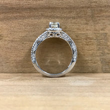 14K White Gold  Cushion Halo Mounting w/.47CT Round Brilliant Center Diamond Engagement Ring - The Jewelers Lebanon