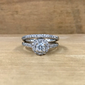 14K White Gold .38 Carat Center Diamond .75 Carat Total Weight Pave Engagement Ring w/ Band - The Jewelers Lebanon