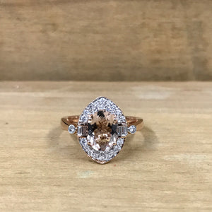 14K Rose Gold Diamond & Morganite Ring - The Jewelers Lebanon