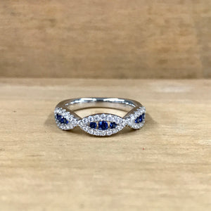 14K White Gold .19 Carat Sapphire .32 Carat Diamond Woven Band - The Jewelers Lebanon