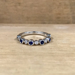14K White Gold .36 Carat Sapphire .07 Diamond Band - The Jewelers Lebanon