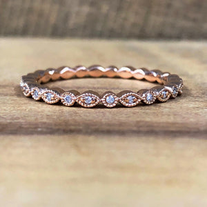 14K Rose Gold .04 Carat Diamond Band