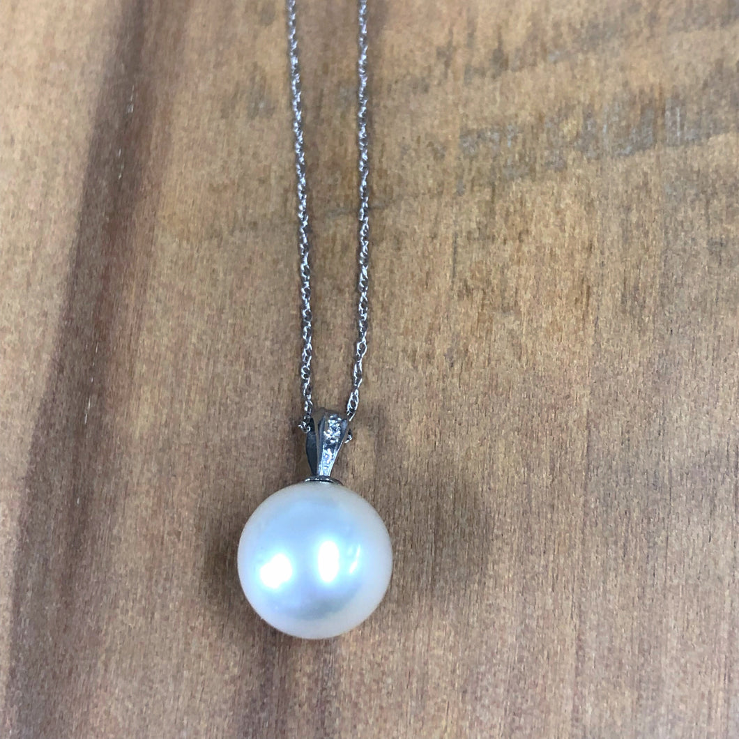 14K White Gold 11MM South Sea Pearl Pendant