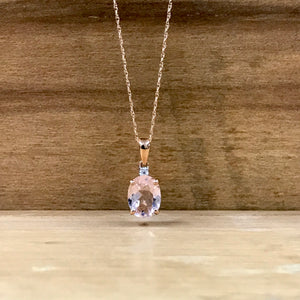 10K Rose Gold 1.57CT Morganite Necklace - The Jewelers Lebanon