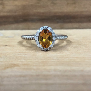 14K White Gold Citrine w/ .15 Carat Diamond Ring