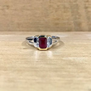 14K White & Yellow Gold .75 Carat Ruby .10 Carat Diamond Ring
