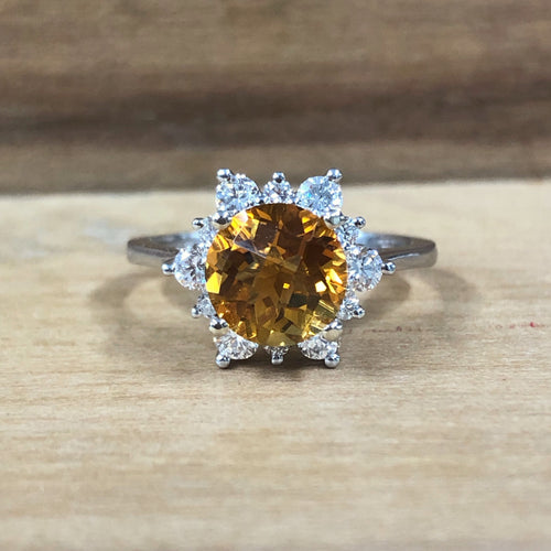 14K White Gold 2.50 Carat Round Citrine w/ .62 Carat Diamond Halo Ring
