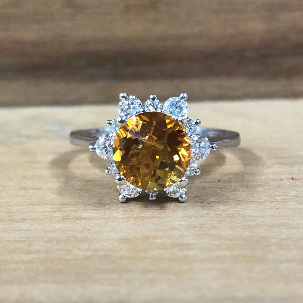 14K White Gold 2.50 Carat Round Citrine w/ .62 Carat Diamond Halo Ring - The Jewelers Lebanon