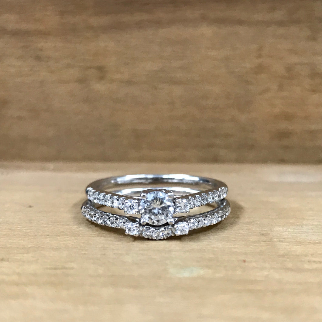14K White Gold .29CT Diamond Engagement Ring w/Band - The Jewelers Lebanon