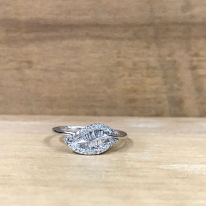 14K White Gold .34 CTW Diamond Leaf Ring - The Jewelers Lebanon