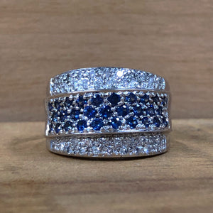 14K White Gold 1/2 CTW Diamond & 2/3 CTW Sapphire Pave Ring - The Jewelers Lebanon