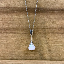 14K White Gold Opal & Diamond Pendant Necklace - The Jewelers Lebanon