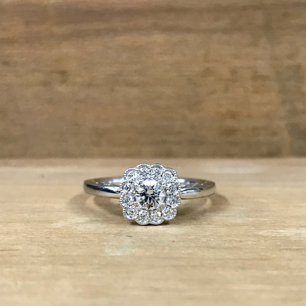 14K White Gold .17 Carat Scalloped Halo Mounting .23 Carat Center Diamond Engagement Ring - The Jewelers Lebanon