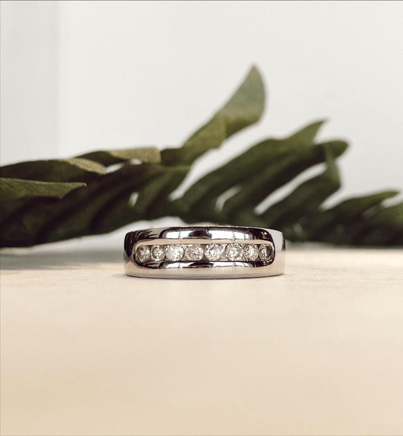 14K White Gold .63 CTW Gents Channel Set Band